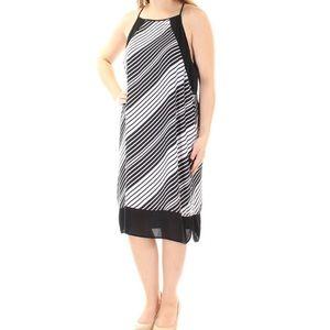VINCE CAMUTO Black Striped Shift Dress Size XL
